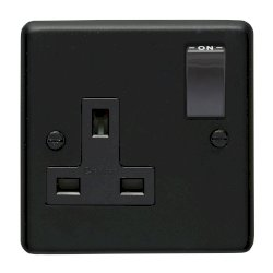 Eurolite Stainless Steel Matt Black 1 Gang 13amp DP Switched Socket with Black Nickel Insert