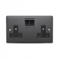 Eurolite Stainless Steel Matt Black 2 Gang 13amp DP Switched Socket with Black Nickel Insert