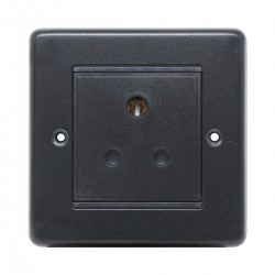 Eurolite Stainless Steel Matt Black 1 Gang 5amp Unswitched Socket with Black Insert