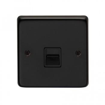 Eurolite Stainless Steel Matt Black 1 Gang Telephone Master with Black Insert