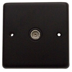 Eurolite Stainless Steel Matt Black 1 Gang TV Outlet with Black Insert