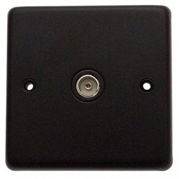 Eurolite Stainless Steel Matt Black 1 Gang TV Outlet with Black Insert