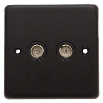 Eurolite Stainless Steel Matt Black 2 Gang TV Outlet with Black Insert