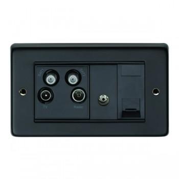Eurolite Stainless Steel Matt Black 2 Gang Sky Plus with Black Insert