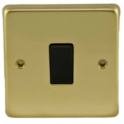 Eurolite Stainless Steel Polished Brass 1 Gang 10amp 2way Switch with Black Insert