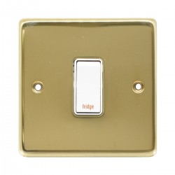 Eurolite Stainless Steel Polished Brass 1 Gang 20amp DP Engraved Appliance Switch with White Insert