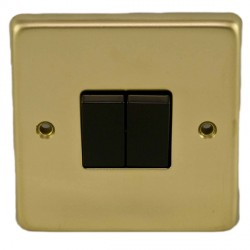 Eurolite Stainless Steel Polished Brass 2 Gang 10amp 2way Switch with Black Insert