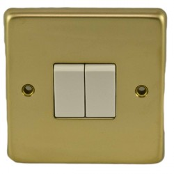 Eurolite Stainless Steel Polished Brass 2 Gang 10amp 2way Switch with White Insert