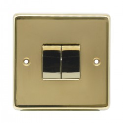 Eurolite Stainless Steel Polished Brass 2 Gang 10amp 2way Switch with Matching Insert