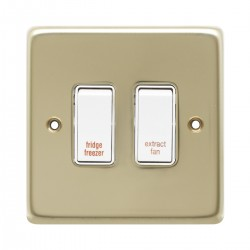 Eurolite Stainless Steel Polished Brass 2 Gang 20amp DP Engraved Appliance Switch with White Insert