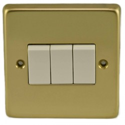 Eurolite Stainless Steel Polished Brass 3 Gang 10amp 2way Switch with White Insert