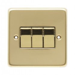 Eurolite Stainless Steel Polished Brass 3 Gang 10amp 2way Switch with Matching Insert