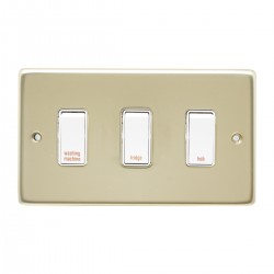 Eurolite Stainless Steel Polished Brass 3 Gang 20amp DP Engraved Appliance Switch with White Insert