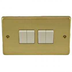Eurolite Stainless Steel Polished Brass 4 Gang 10amp 2way Switch with White Insert
