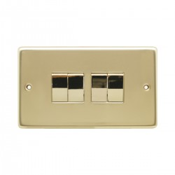 Eurolite Stainless Steel Polished Brass 4 Gang 10amp 2way Switch with Matching Insert