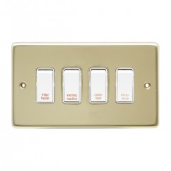 Eurolite Stainless Steel Polished Brass 4 Gang 20amp DP Engraved Appliance Switch with White Insert