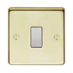 Eurolite Stainless Steel Polished Brass 1 Gang Intermediate Switch with White Insert