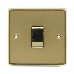 Eurolite Stainless Steel Polished Brass 1 Gang 20amp DP Switch with Matching Insert