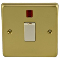 Eurolite Stainless Steel Polished Brass 1 Gang 20amp DP Switch and Neon with White Insert