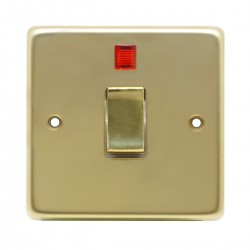 Eurolite Stainless Steel Polished Brass 1 Gang 20amp DP Switch and Neon with Matching Insert