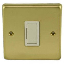 Eurolite Stainless Steel Polished Brass 13amp Unswitched Fuse Spur with White Insert