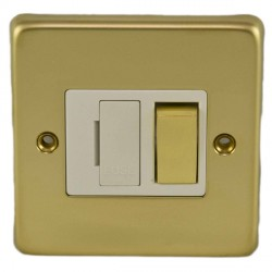 Eurolite Stainless Steel Polished Brass 13amp Switched Fuse Spur with Matching Rocker and White Insert
