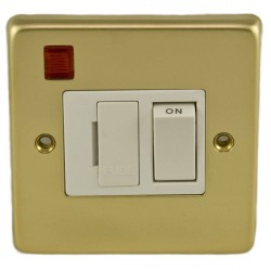 Eurolite Stainless Steel Polished Brass 13amp Switched Fuse Spur and Neon with White Insert