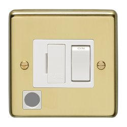 Eurolite Stainless Steel Polished Brass 13amp Switched Fuse Spur Flex Outlet with White Insert