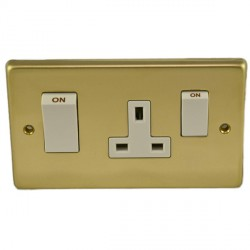 Eurolite Stainless Steel Polished Brass 2 Gang 45amp DP Switch and Socket with White Insert