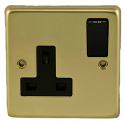 Eurolite Stainless Steel Polished Brass 1 Gang 13amp DP Switched Socket with Black Insert