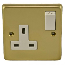 Eurolite Stainless Steel Polished Brass 1 Gang 13amp DP Switched Socket with White Insert