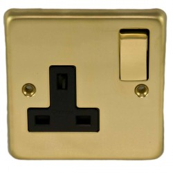Eurolite Stainless Steel Polished Brass 1 Gang 13amp DP Switched Socket with Matching Rocker and Black Insert
