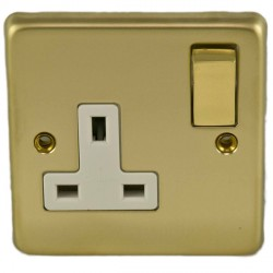 Eurolite Stainless Steel Polished Brass 1 Gang 13amp DP Switched Socket with Matching Rocker and White Insert