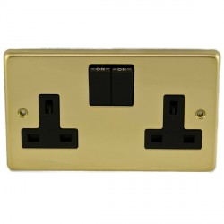 Eurolite Stainless Steel Polished Brass 2 Gang 13amp DP Switched Socket with Black Insert