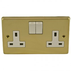 Eurolite Stainless Steel Polished Brass 2 Gang 13amp DP Switched Socket with White Insert