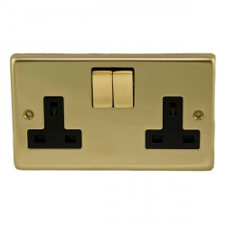 Eurolite Stainless Steel Polished Brass 2 Gang 13amp DP Switched Socket with Matching Rocker and Black Insert