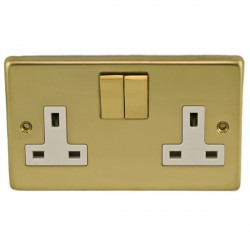 Eurolite Stainless Steel Polished Brass 2 Gang 13amp DP Switched Socket with Matching Rocker and White Insert