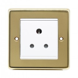 Eurolite Stainless Steel Polished Brass 1 Gang 5amp Unswitched Socket with White Insert