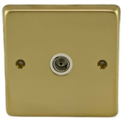 Eurolite Stainless Steel Polished Brass 1 Gang TV Outlet with White Insert
