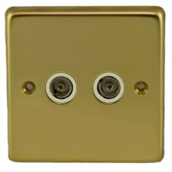 Eurolite Stainless Steel Polished Brass 2 Gang TV Outlet with White Insert