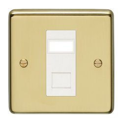 Eurolite Stainless Steel Polished Brass 1 Gang Data Socket with White Insert