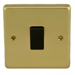 Eurolite Stainless Steel Satin Brass 1 Gang 10amp 2way Switch with Black Insert