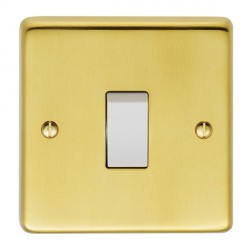 Eurolite Stainless Steel Satin Brass 1 Gang 10amp 2way Switch with White Insert