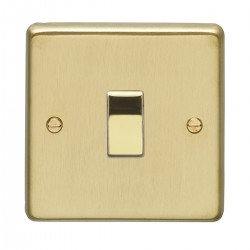 Eurolite Stainless Steel Satin Brass 1 Gang 10amp 2way Switch with Polished Brass Insert