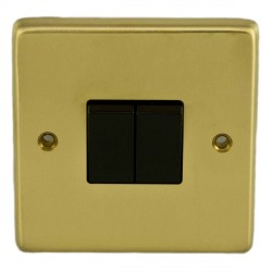 Eurolite Stainless Steel Satin Brass 2 Gang 10amp 2way Switch with Black Insert