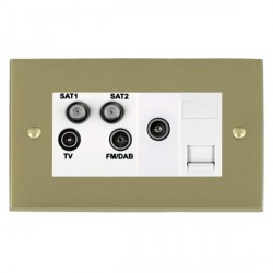 Hamilton Cheriton Victorian Satin Brass TV+FM+SAT+SAT (DAB Compatible)+TV+TCS (DAB Compatible) with White...
