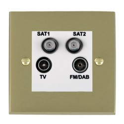 Hamilton Cheriton Victorian Satin Brass TV+FM+SAT+SAT (DAB Compatible) with White Insert
