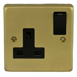 Eurolite Stainless Steel Satin Brass 1 Gang 13amp DP Switched Socket with Black Insert