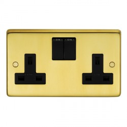 Eurolite Stainless Steel Satin Brass 2 Gang 13amp DP Switched Socket with Black Insert