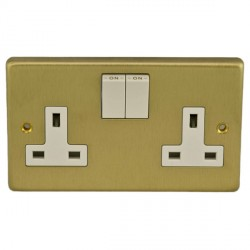 Eurolite Stainless Steel Satin Brass 2 Gang 13amp DP Switched Socket with White Insert